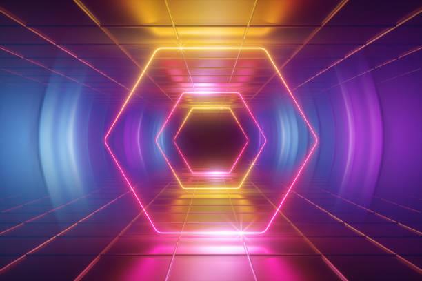 3d render, ultraviolett neonljus, tunnel, hexagon, ram, abstrakt bakgrund, sexkantiga portal, virtuell verklighet miljö, glödande rosa blå gult spektrum, levande färger, linjer, lasershow - disco lights bildbanksfoton och bilder