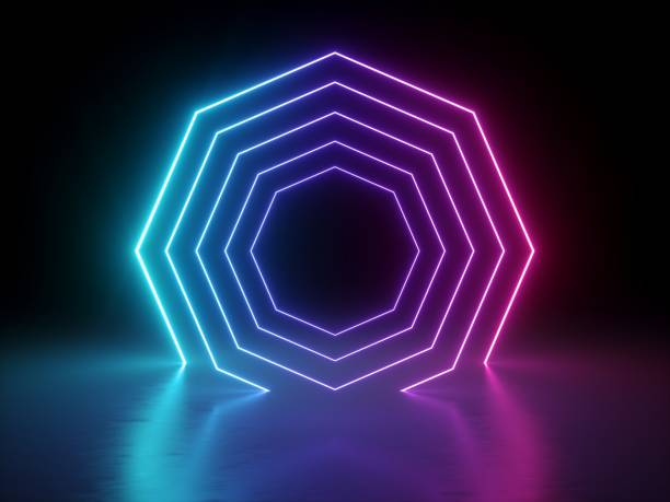 3d render, ultraviolet neon octagon, glowing lines, octagonal shape portal, virtual reality, abstract fashion background, violet neon lights blend, arch, pink blue spectrum vibrant colors, laser show stock photo