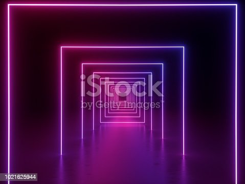 1058076636 istock photo 3d render, ultraviolet neon square portal, glowing lines, tunnel, corridor, virtual reality, abstract fashion background, violet neon lights, arch, purple pink vibrant colors, laser show 1021625944