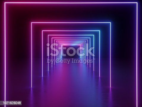 1058076636 istock photo 3d render, ultraviolet neon square portal, glowing lines, tunnel, corridor, virtual reality, abstract fashion background, violet neon lights, arch, pink blue spectrum vibrant colors, laser show 1021626048
