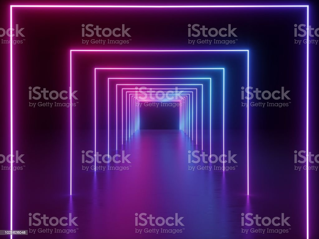 3d render, ultraviolet neon square portal, glowing lines, tunnel, corridor, virtual reality, abstract fashion background, violet neon lights, arch, pink blue spectrum vibrant colors, laser show stock photo