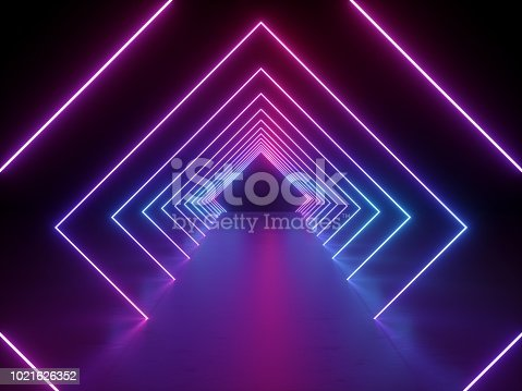 istock 3d render, ultraviolet neon square portal, glowing lines, tunnel, corridor, virtual reality, abstract fashion background, violet neon lights, arch, pink vibrant colors, laser show 1021626352