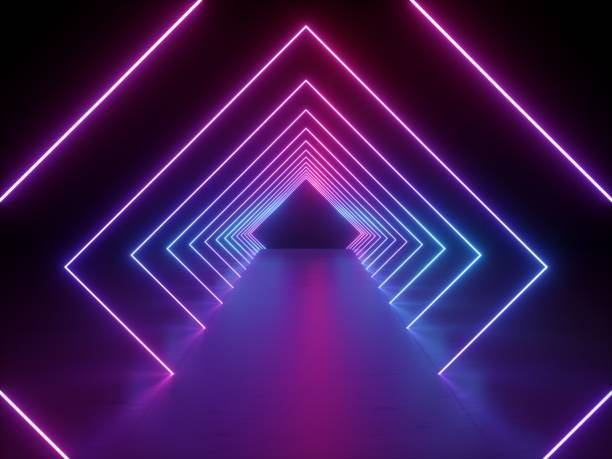 3d render, ultraviolet neon square portal, glowing lines, tunnel, corridor, virtual reality, abstract fashion background, violet neon lights, arch, pink vibrant colors, laser show - trippy background imagens e fotografias de stock