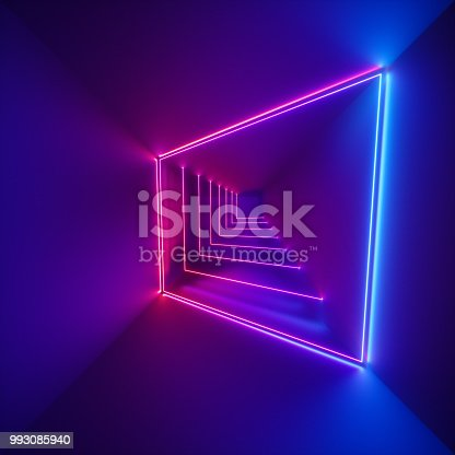istock 3d render, ultraviolet spectrum, neon lights, laser show, glowing lines, virtual reality, abstract fluorescent background, optical illusion, cubic room, corridor, night club interior 993085940