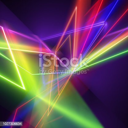 istock 3d render, ultraviolet spectrum rays, neon lights, laser show, glowing lines, virtual reality, abstract fluorescent background, optical illusion, night club, chaotic radiation 1027306634