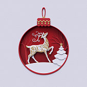 3d render, vintage holiday ornament, reindeer inside, red ball, christmas fir tree, snowball decor, stag, flat paper craft winter landscape, cut layers, greeting card, round frame, white background