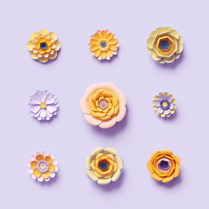 3d render, violet yellow craft paper flowers, floral clip art set, isolated botanical design elements, bright candy colors, decorative embellishment