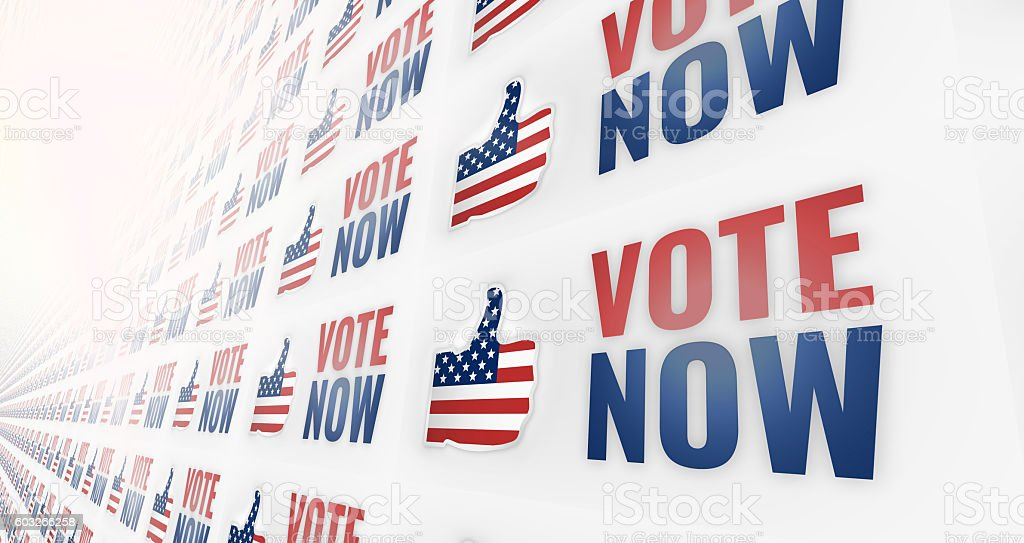 3d render vote now america USA thumbs up design graphic stock photo