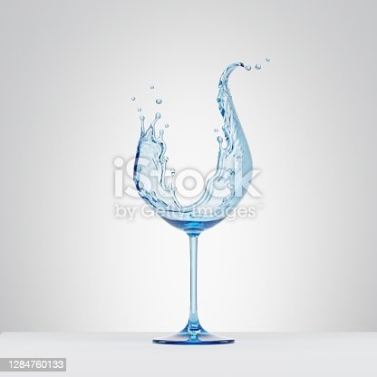 istock 3d render, water splash in the shape of wineglass, pure liquid splashing clip art isolated on white background 1284760133
