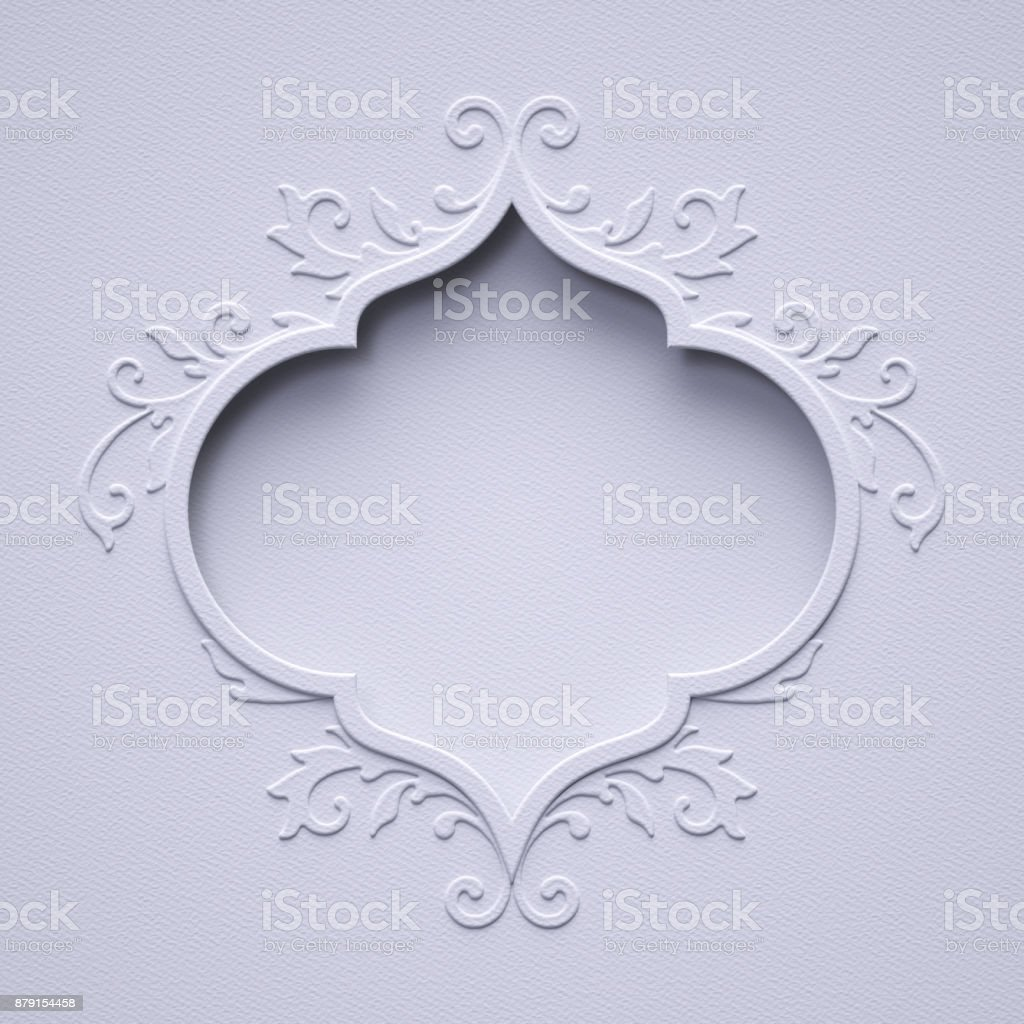3d Render White Christmas Vintage Frame Paper Texture Wedding Lace