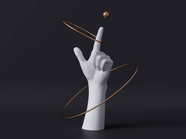 3d render, white decorative female mannequin hand isolated on black background, finger pointing up, spinning golden rings, body part, fashion concept, esoteric fortuneteller, clean minimal design - model obiekt zdjęcia i obrazy z banku zdjęć