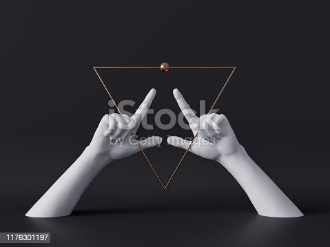 istock 3d render, white decorative female mannequin hands isolated on black background, golden triangle frame, fingers pointing up, body parts, luxury fashion concept, esoteric fortuneteller, minimal design 1176301197