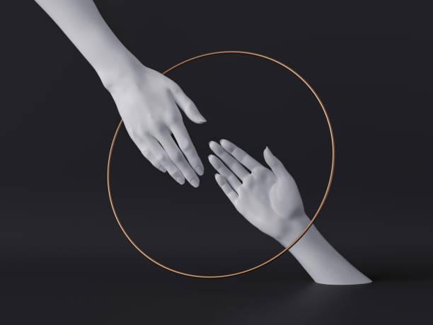 3d render, vita kvinnliga händer isolerade, lyx mode bakgrund, hjälpande händer inuti rund ram, gyllene ring, skyltdocka kroppsdelar, feministiska, partnerskaps koncept, clean minimal design - hand gold jewels bildbanksfoton och bilder