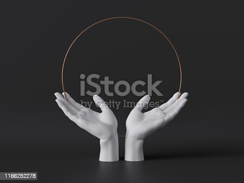 istock 3d render, white female mannequin hands isolated on black background, open palms, body parts, fashion concept, religious praying ritual, sacred geometry, global care, clean minimal design, blank space 1166252278
