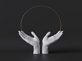 3d render, white female mannequin hands isolated on black background, open palms, body parts, fashion concept, religious praying ritual, sacred geometry, global care, clean minimal design, blank space