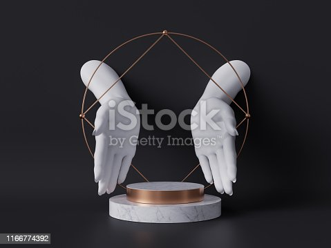 istock 3d render, white female mannequin hands isolated on black background, open palms, fashion concept, marble pedestal, shop display, sacred geometry, clean minimal design, blank space, body parts 1166774392