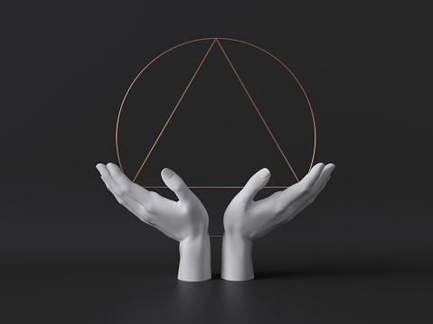 istock 3d render, white female mannequin hands isolated on black background, holding gold art deco ritual frame, body parts, fashion concept, esoteric fortuneteller, sacred geometry, clean minimal design 1178311229
