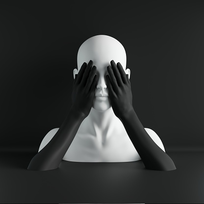 istock 3d render, white female mannequin head, eyes closed by hands, blind concept, fashion concept, isolated object, black background, shop display, body parts, pastel colors 1050886380