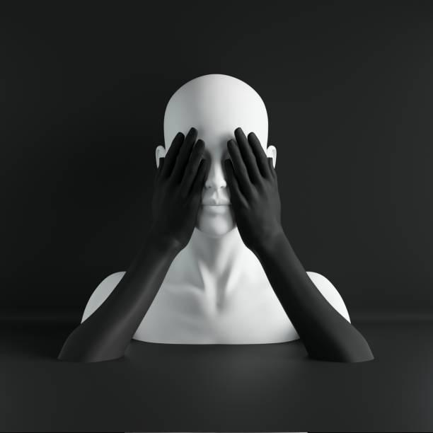 3 d レンダリング、白いマネキンの頭は、目を閉じて手、盲目のコンセプト、ファッション概念、孤立したオブジェクト、黒の背景、ショップのディスプレイ、ボディー パーツ、パステル カ� - マネキン ストックフォトと画像