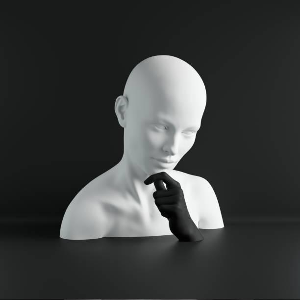 3d render, weiße weibliche schaufensterpuppe kopf, hand, modekonzept, isoliertes objekt, schwarzer hintergrund, schaufenster, körperteile, pastell-farben - heute ist freitag stock-fotos und bilder