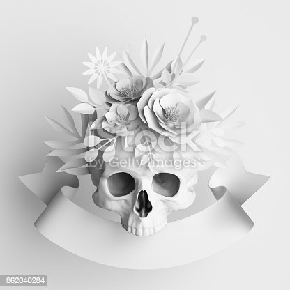 istock 3d render, white floral skull, paper flowers crown, Halloween background, poster template 862040284