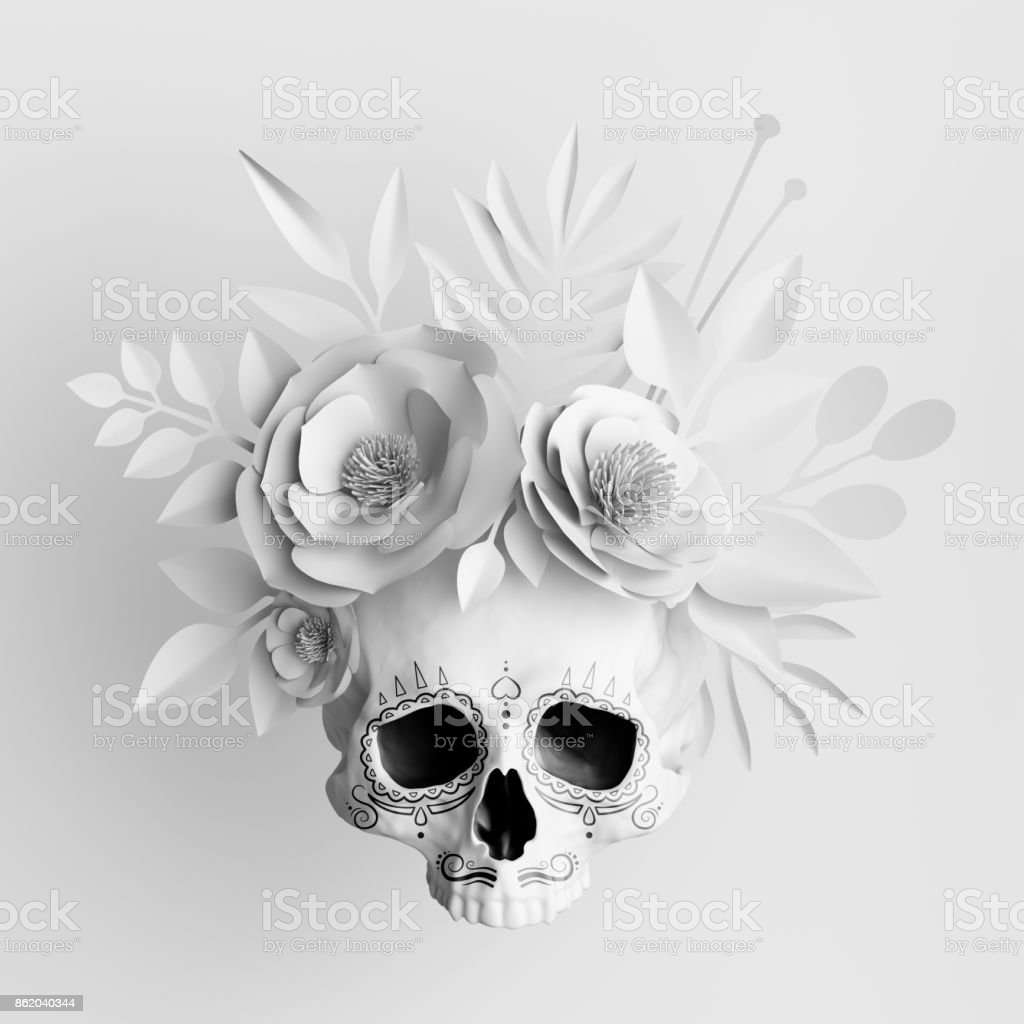 5a55ec220afb6 3d Render White Floral Skull Paper Flowers Crown Halloween ...