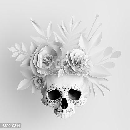 3d render, white floral skull, paper flowers crown, Halloween background