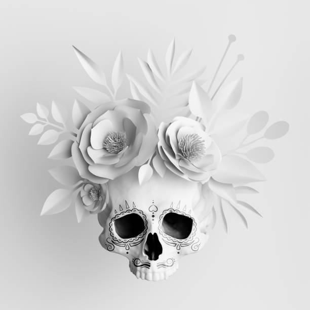 3d render, white floral skull, paper flowers crown, Halloween background stock photo