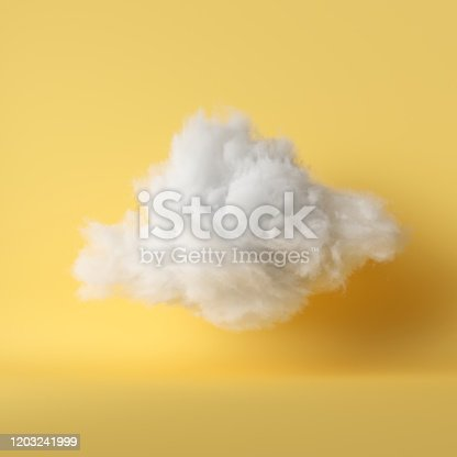 3d render, white fluffy cloud levitating inside the studio. Object isolated yellow background, modern design, abstract metaphor.