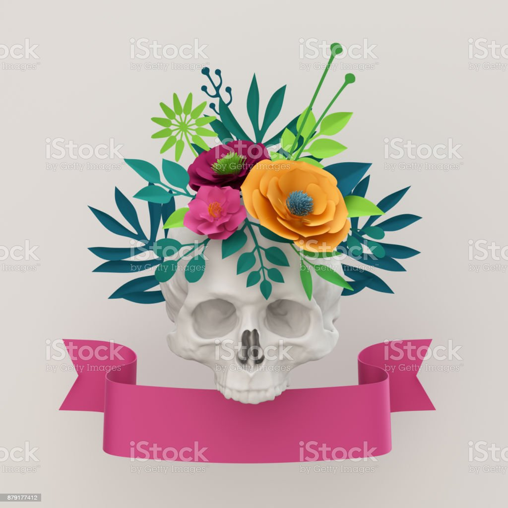 3d render, white gothic floral skull, Halloween background, colorful paper flowers, pink ribbon banner stock photo