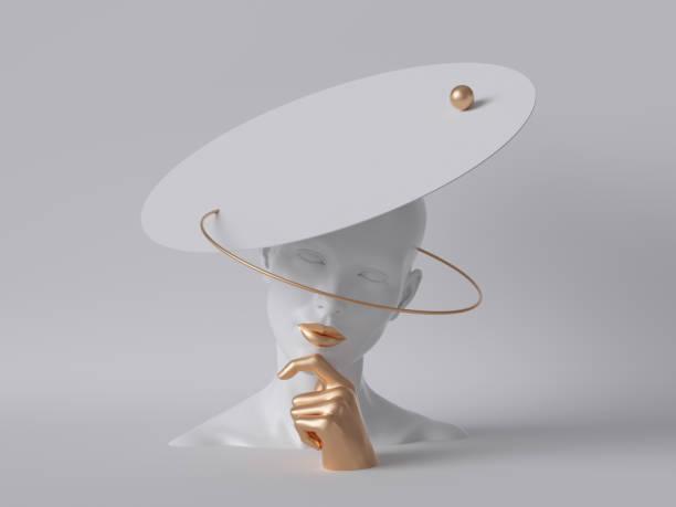 3d render, vit skyltdocka kvinna huvudet isolerade på vit bakgrund, gyllene hand, lady bär ovanlig hatt, modekoncept, skyltfönster, kroppsdelar, ren minimal design - hand gold jewels bildbanksfoton och bilder