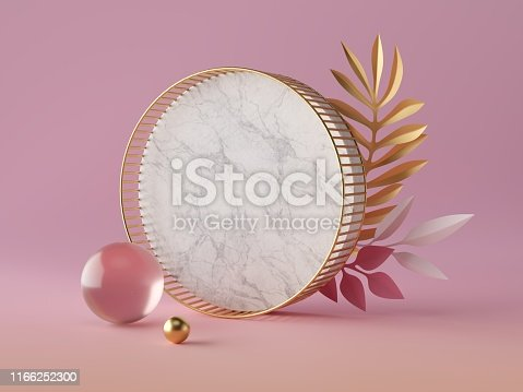 istock 3d render, white marble circle shape, blank round banner mockup, simple geometrical objects isolated on rose pink background, abstract luxury concept, glass gold ball, paper palm leaves 1166252300