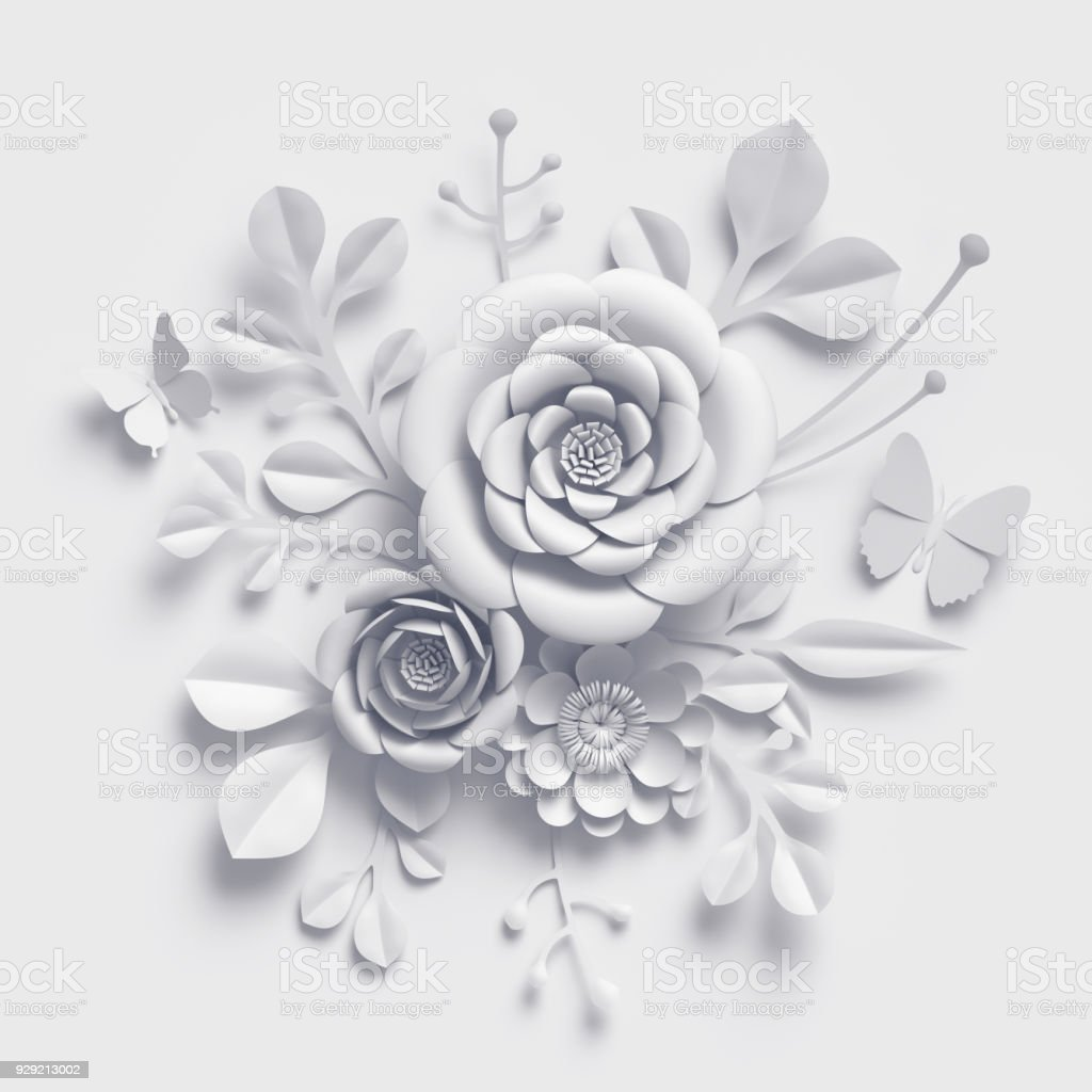 3d Render White Paper Flowers Floral Bouquet Botanical Background