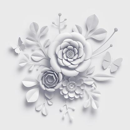 3d Render White Paper Flowers Floral Bouquet Botanical ...