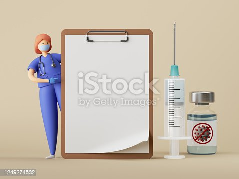 istock 3d render. Woman doctor cartoon character stands near the big blank clipboard, vaccine syringe. Clip art isolated on beige background. Healthcare consultation. Prescription mockup. Medical concept 1249274532