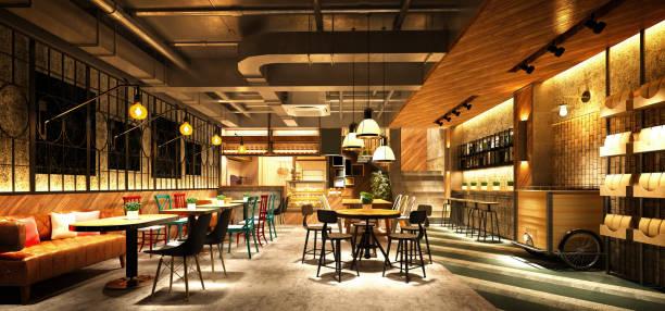 3d 渲染木風格餐廳咖啡廳 - 吧 公共飲食地方 個照片及圖片檔