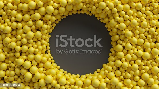 istock 3d render, yellow balls, abstract background, round frame, hole 1080308604
