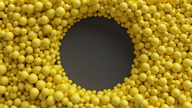 3d 渲染, 黃色球, 抽象背景, 圓形框架, 孔 - 球狀體 個照片及圖片檔