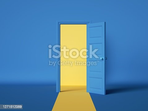 istock 3d render, yellow light inside the open door isolated on blue background. Room interior design element. Modern minimal concept. Opportunity metaphor. 1271512059