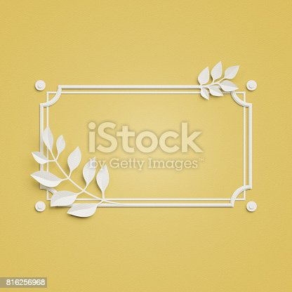 istock 3d render, yellow paper craft background, palm leaves, poster frame, cover, banner, label 816256968