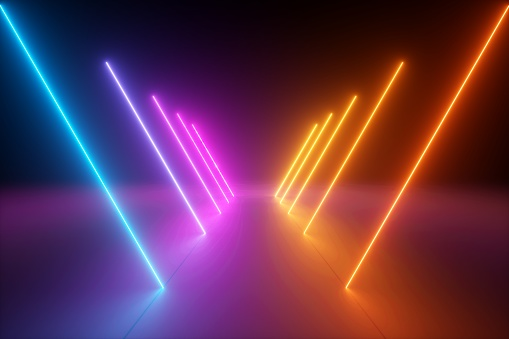 3d render, yellow pink blue neon light, abstract ultraviolet background, dynamic glowing lines, psychedelic vibrant colors, show stage, tunnel, corridor, night club interior