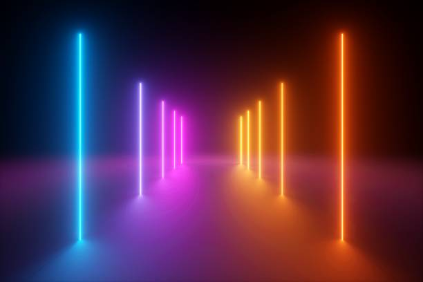 3d render, yellow pink blue neon light, abstract ultraviolet background, vertical glowing lines, psychedelic vibrant colors, show stage, tunnel, corridor, night club interior - spectrum stock pictures, royalty-free photos & images