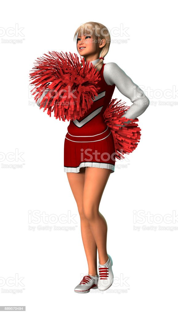 3d render young cheerleader with pompoms on white stock photo