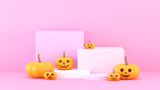 istock 3d render,Abstract Pink background with geometric shape podium for product. Minimal concept.  halloween pumpkins on pink background, holiday decoration. 1176790980