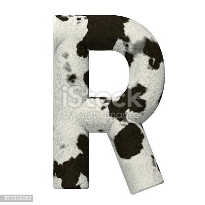 istock 3d Rendered Cow Skin Alphabet and Numbers 872306052