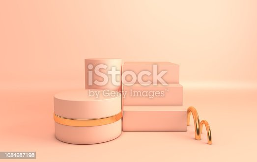 istock 3d rendered gold and pastel beige geometric shapes, podium in the  beige room. Set of platforms for product presentation, mock up. Abstract composition in modern minimal design 1084687198