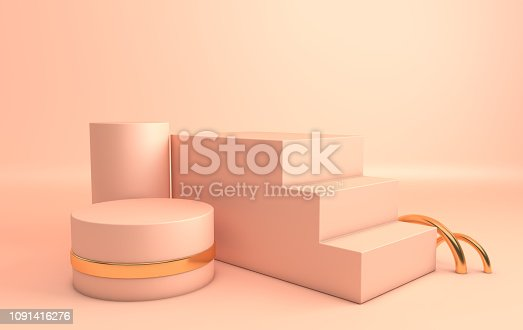 istock 3d rendered gold and pastel bige geometric shapes, podium in the room. Set of platforms for product presentation, mock up. Abstract composition in modern minimal design 1091416276