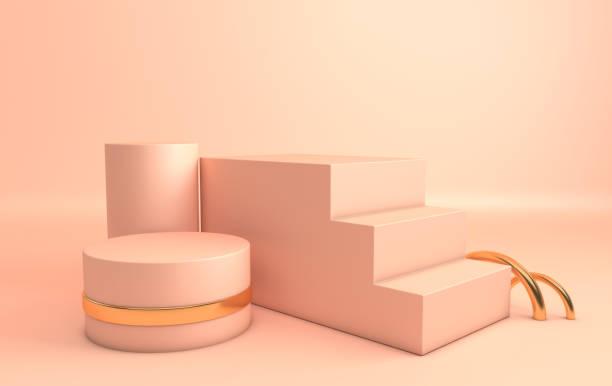 3D rendu bige or et pastel des formes géométriques, podium dans la salle. Jeu de plateformes pour la présentation du produit, mock up. Composition abstraite au design minimaliste moderne - Photo