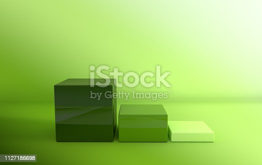 istock 3d rendered green geometric shapes, podium in the  gradient green room. Set of cubic platforms for product presentation, mock up. Abstract composition in modern minimal design 1127186698