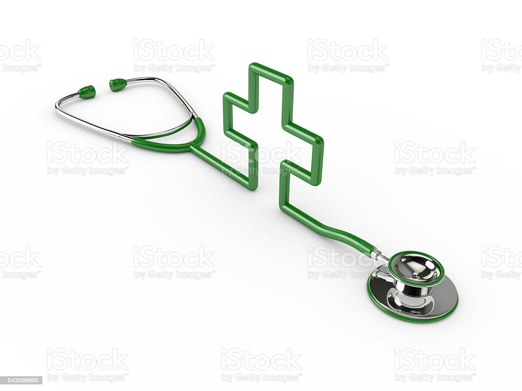 3d rendered green stethoscope with cross isolated over white stock photo
